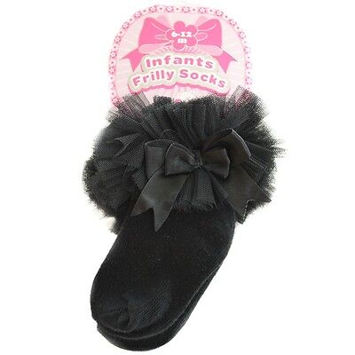 Romany Spanish Style Black  Lace Tutu Satin Double Bow Frilly Short Baby Socks