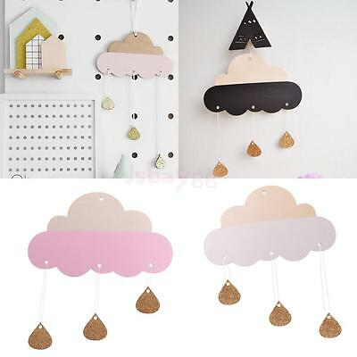 Sweet Wood Cloud Shape Plaque Wall Hanging Art Decor Baby Kid's Room Ornament