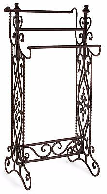 Colonial Scroll Black Wrought Iron Quilt Display Rack Towel Blanket Holder 3 Rod
