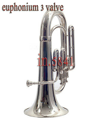 Euphonium/bb/valve/chrome/finish/w/case+Mp/awesome/sound/tuba/sousaphone/brass