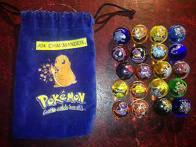 Pokemon Marbles Collectible - 20 Marbles And Charmander Themed Pouch