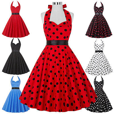 Retro Vintage Style 50s 60s Housewife Mother's Halter Party Rock and Roll Dress