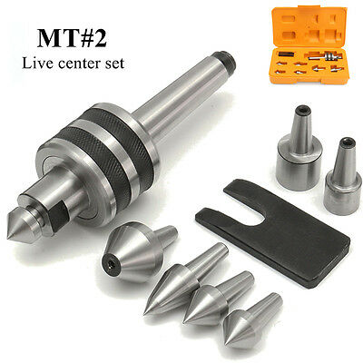 MT2 Live Center Set Morse Taper 2MT Triple Bearing Lathe 7 Interchangeable Point
