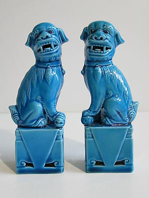 Vintage Couple Chinese Foo Dog Porcelain Statue Orientali Porcellana