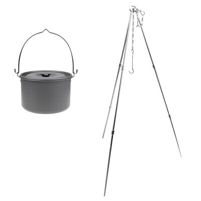 Aluminum Alloy Cooking Picnic Fire Oven Tripod Hanger Grill Stand with Pot