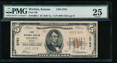 AC 1929 Type I $5 The First National Bank in Wichita, Kansas ch# 2782 PMG 25