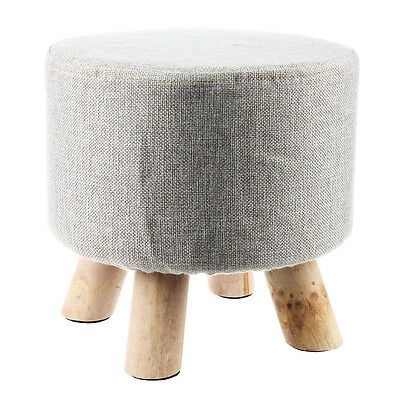 Modern Luxury Upholstered Footstool Round Pouffe Stool + Wooden Leg Pattern D2O0