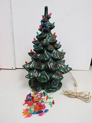 "Vintage 16"" Lighted Ceramic Christmas Tree w/Snow and Base  2039K"