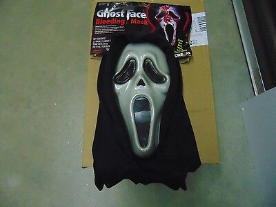 Ghost Face Hooded Bleeding Mask Halloween Scream Costume Adult 15+ NEW