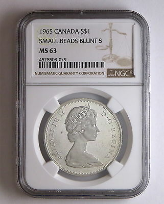 1965 S$1 Canada Silver Dollar Small Beads Blunt 5 NGC MS 63 Business Strike