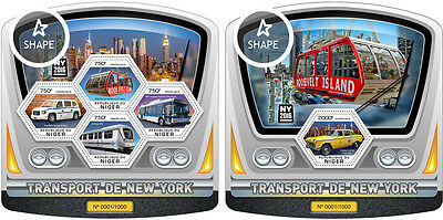 New York Transport Trains Cars Taxi Niger MNH stamp set 2 sheets ODD SHAPE