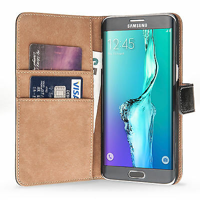 For Samsung Galaxy S6 Edge Plus Genuine Leather Wallet Stand Case Cover Pouch