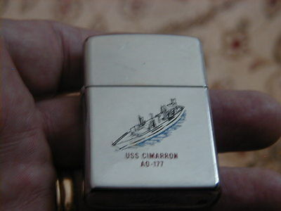 Vintage Used 1989 Zippo Lighter Uss Cimarron Ad-177 First In Service Has Wear