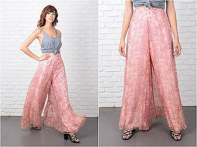 Vtg 60s 70s Silk Trousers Pants Wide Leg Palazzo Pants Pink Reptile High Waist