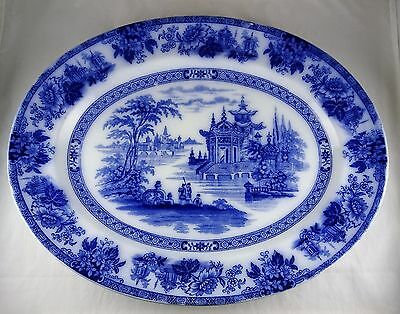 Royal Doulton Burslem Madras Flow Blue Antique Oval Serving Platter