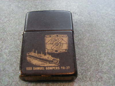 Vintage Used 1987 Zippo Lighter Uss Samuel Gompers Ad-37 Service Suprem Has Wear