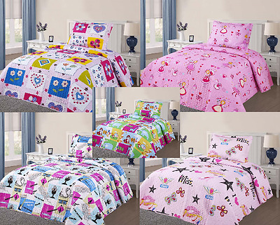 1 Twin Boy or Girl Kids Design Quilt Bedding Bedspread with 1 Pillowcase Set