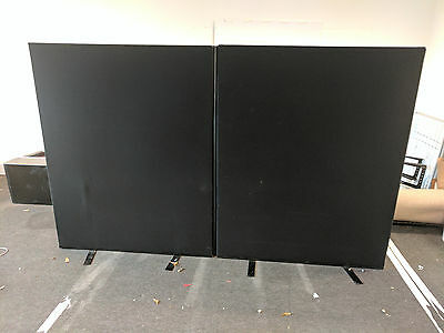 Large Office Divider Partition Screen Panels in Black (x2)