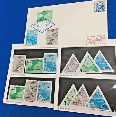 Rattlesnake Island Local Post Cover w/Perf + Imperf MNH Stamps Collection of 12