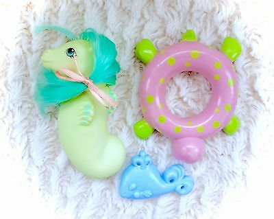 100% Complete G1 Baby Sea Shimmer Sea Pony + Float Brush Ribbon My Little Pony