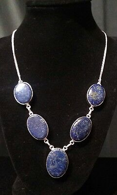 NEW Ancient LAPIS LAZULI Hand-crafted 5-stone Artisan Statement Necklace 20""