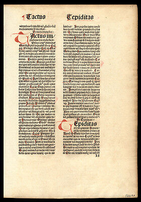 Incunable Leaf by Noted Theologian Nicolaus de Byard Hand Colored Letters