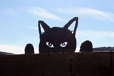 Black Cat Fence Topper Silhouette Hand Made Metal Garden Ornament