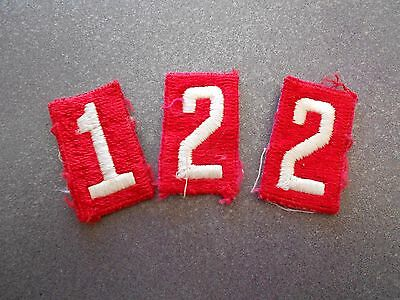 1 2 2 Vintage BSA Boy Scouts of America Number Patches Red & White 1940's-50's