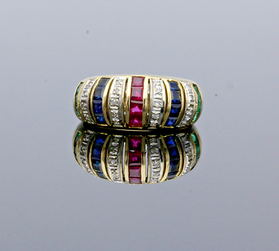 Vintage  14Ct Gold Ruby, Sapphire, Emerald & Diamond Band Ring - 1987
