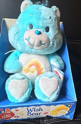 "Vintage 1985 Care Bears Large Wish Bear 13"" Sitting Plush Blue Stuffed Clean NWT"