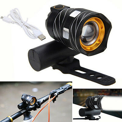 NEW USB Rechargeable XML T6 LED Bicycle Bike Light Front Cycling Light Head Lamp