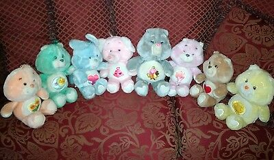 Vintage 1980's Care Bears plush lot of 9  13""