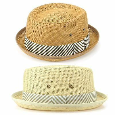 Straw Hat Porkpie Pork Pie Trilby Mens Ladies Summer Sun Retro Unisex Hawkins
