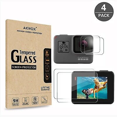 (Pack of 4) Tempered Glass Screen Protector for Gopro Hero 5 (Screen and Lens...