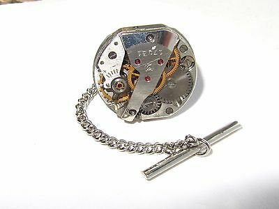 Steampunk Punk Tie Bar Clip Pin Clasp with chain, watch movement Tie Tack