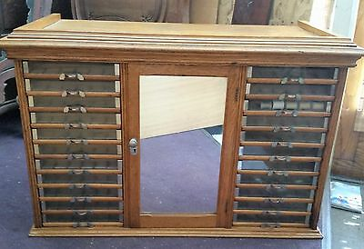 Vtg Antique Tiger Oak Spool Thread Sewing Storage Store Display Fixture Cabinet