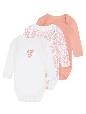 NAME IT 3er langarm Body Set rosa apricot Größe 50 bis 98