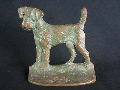 Vintage 1928 NY Brass Company Wire Fox Terrier Dog Cast Iron Doorstop Bookend