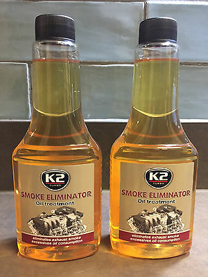 2x K2 STOP SMOKE ELIMINATOR OIL Treatment Reduce Black Emission Seals Engine