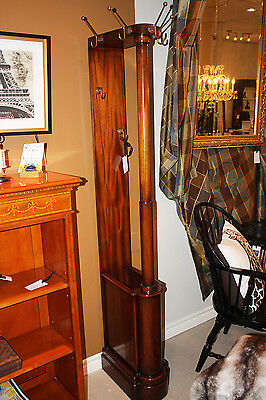 Handsome Solid Mahogany Brass Hooked Umbrella Hall Coat Tree Stand MINT