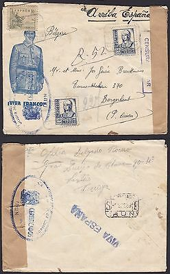 Spain 1939 - Used stamps on Civil War Censored mail to Belgium..............S250