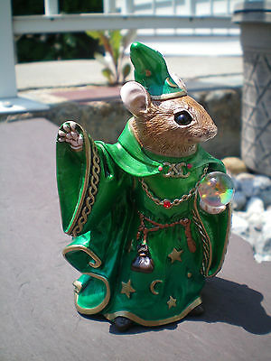 Windstone Editions RETIRED Emerald Mouse Wizard Statue Fantasy Figurine