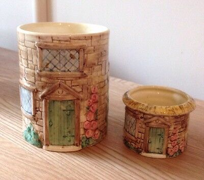 Cottage Ware 'Croft' Utensil Jar And Small Pot By Crown Windsor
