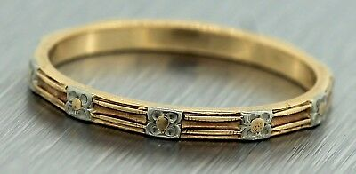 Ladies Antique Victorian 14K Two Tone Gold Floral Pattern Wedding Band Ring