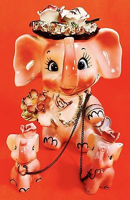CUTE! Pink Elephant Mom & Babies Figurine VTG 1950s Retro Mother Napco Norcrest
