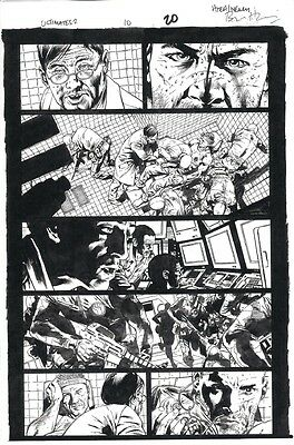 Brian Hitch Ultimates Original Art - Hawkeye Action page!