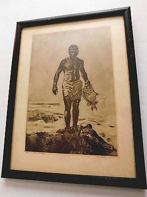 "JOHN M. KELLY (1879-1962; Honolulu, Hawaii), Print of ""REEF FISHERMAN - KONA"""