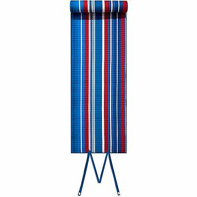 Roll-up Beach Mat, Red and Blue Stripes with Pillow