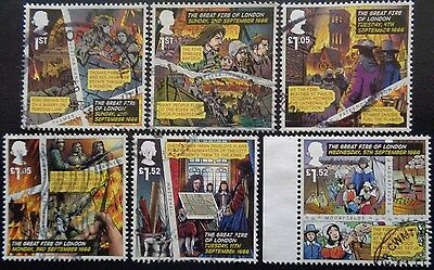 GB 2016 The Great Fire of London Used Off Paper Set