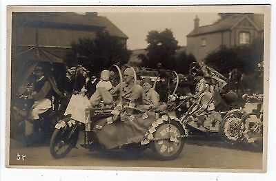 Decorated Vintage Motorcycle And Side Car Fancy Dress Old Real Photo Postcard